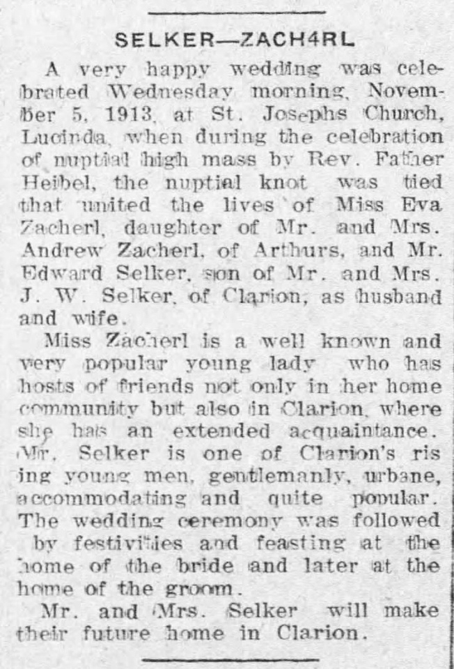 MB Boutiques: The Selker Collection &emdash; The_Clarion_Democrat_Thu__Nov_6__1913_Selker-Zacherl Wedding