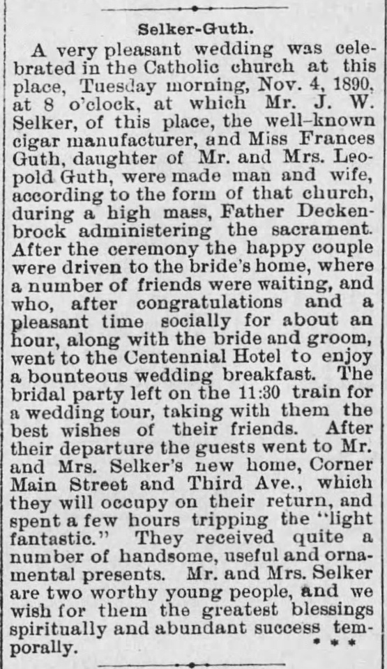MB Boutiques: The Selker Collection &emdash; The_Clarion_Democrat_Thu__Nov_6__1890 Selker-Guth Wedding