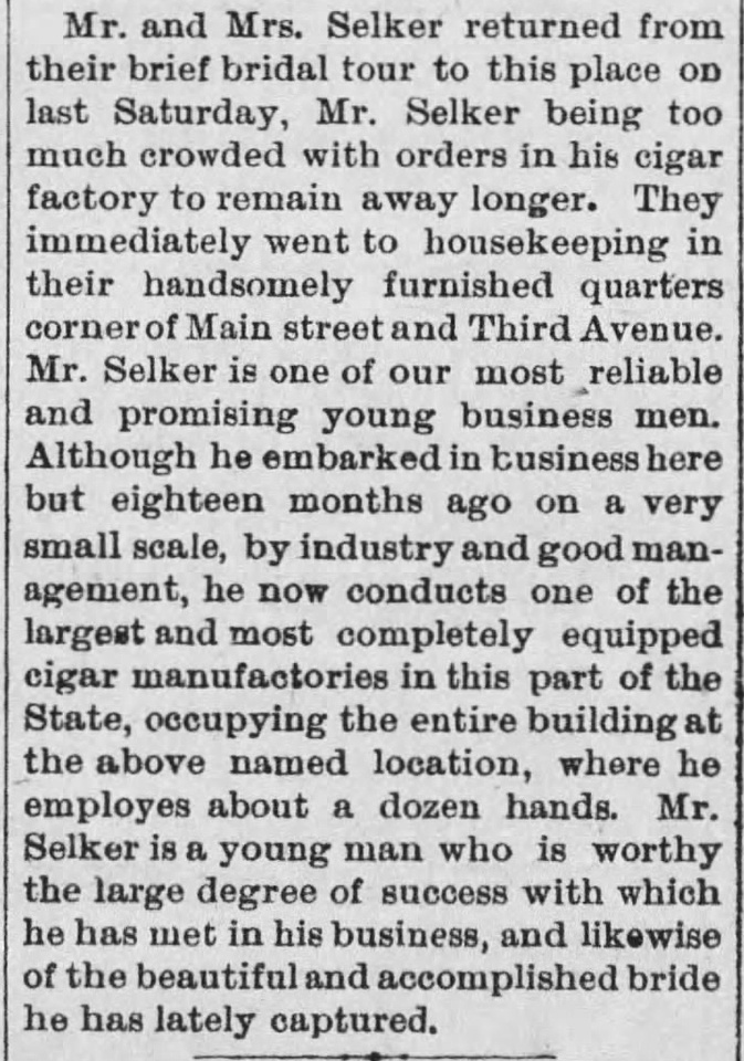 MB Boutiques: The Selker Collection &emdash; The_Clarion_Democrat_Thu__Nov_13__1890_Selker-Guth Bridal Tour