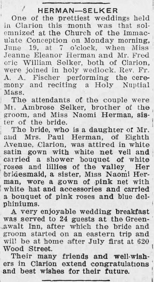MB Boutiques: The Selker Collection &emdash; The_Clarion_Democrat_Thu__Jun_22__1933_Selker-Herman Wedding