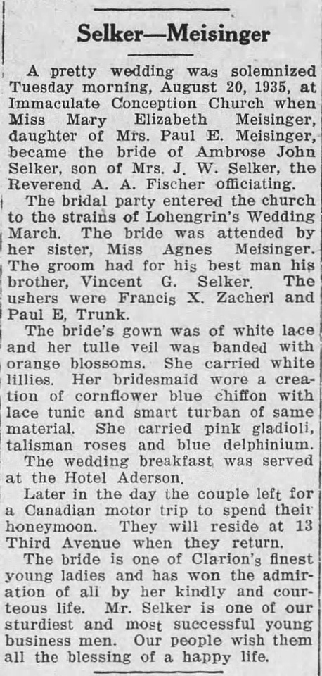 MB Boutiques: The Selker Collection &emdash; The_Clarion_Democrat_Thu__Aug_22__1935_Selker-Meisinger Wedding