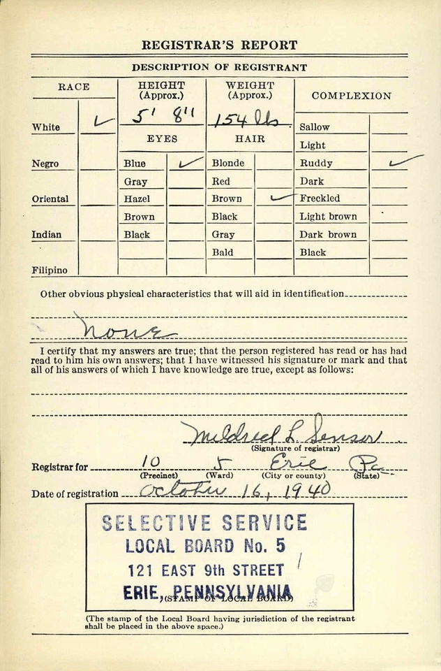 MB Boutiques: Historical Records &emdash; Anthony A. Fromknecht - WWII Draft Registration Card