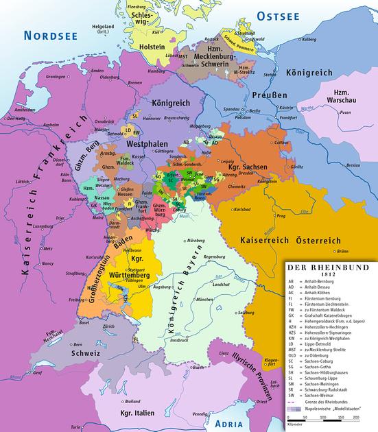 MB Boutiques: Blog Images &emdash; Rheinbund 1812, political map.png